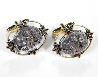 Mens Watch Cufflinks Vintage Watch Movement Cuff Links Lotus Leaf Wedding Anniversary Groom Fathers Day - Steampunk Jewelry by edmdesigns