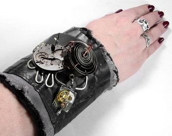 Steampunk Textile Cuff APOCALYPTiC, BLACK INDUSTRIAL Leather Wrist Cuff Watch Parts Clock COiLS Mens Cuff - Steampunk Clothing by edmdesigns