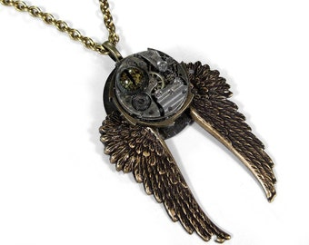 Steampunk Jewelry Necklace Vintage Post Apocalyptic Watch Brass Wings Large Gears REPTILE EYE Steampunk Necklace For Men - by edmdesigns