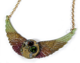 Steampunk Jewelry Necklace Vintage Watch Topaz Olive WINGS Brass, Swarovski Crystal Birthday Anniversary Burning Man - Jewelry by edmdesigns