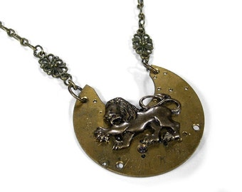 Steampunk Jewelry Necklace Vintage Pocket Watch LION Filigree Mens Womens Wedding Anniversary Mothers Day - Steampunk Jewelry by edmdesigns