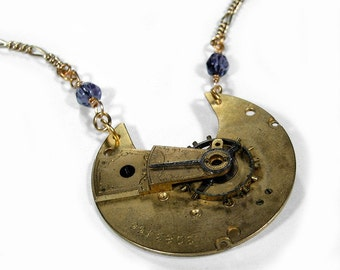 Steampunk Necklace - Antique GOLD Pocket Watch Necklace Victorian Guilloche Etched Blue Lapis GORGEOUS - Steampunk Jewelry by edmdesigns