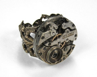 Steampunk Jewelry Ring Vintage GRUNGY Jewel Watch Movement Adjustable Brass Mens Ring Punk Rocker AWESOME - Steampunk Jewelry by edmdesigns