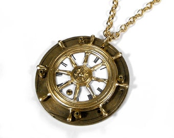 Steampunk Jewelry Necklace Vintage Pocket Watch SHIPS Wheel STEAMY Nautical Statement Wedding Anniversary - Steampunk Jewelry by edmdesigns