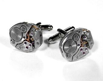 Mens WALTHAM Cufflinks Jeweled Watch Cuff Links, Wedding Anniversary, Groom Fathers Day, Fiancee Cufflinks - Steampunk Jewelry by edmdesigns
