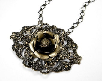 Steampunk Jewelry Necklace Vintage Brass Rose Victorian BUTTON Filigree Plaque Mother's Day Anniversary - Steampunk Jewelry by edmdesigns