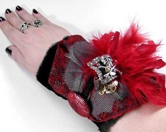 Steampunk Textile Cuff Victorian GOTHIC Cuff Red Feathers Lace SKuLL RHINESTONE Glam Rocker PUNK Cuff - Steampunk Clothing by edmdesigns