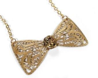 Steampunk Jewelry Necklace Gold BULOVA Watch BOW TIE, Womens Steam Punk, Anniversary, Bridal, Fiancee Jewelry Gift - Jewelry by edmdesigns