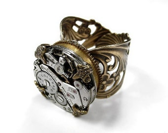 Steampunk Jewelry Mens Womens Watch Ring Vintage Watch Movement ORNATE High BARREL SPRING Brass Wing Ring, Mens Ring - Jewelry by edmdesigns