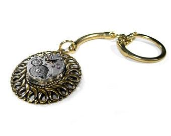 Mens Womens Key Chain Vintage Watch Movement Swirl Setting Wedding Birthday Anniversary Fathers Day Gift - Steampunk Jewelry by edmdesigns