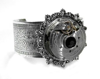 Steampunk Cuff Steampunk Jewelry Bracelet Cuff Silver Pocket Watch Black Crystal, Birthday, Anniversary Mothers Day - Jewelry by edmdesigns