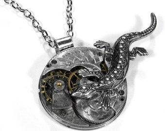 Steampunk Jewelry Necklace Vintage GUILLOCHE Etched LUXURY Sterling Silver Pocket Watch LIZARD, Mens Steampunk, Fathers Day - by edmdesigns