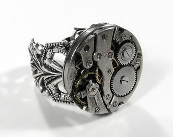 Steampunk Jewelry, Steampunk Ring ORNATE Silver Band Jeweled Watch, Fiancee Ring, Fathers Day, Birthday, Steampunk Fashion - by edmdesigns