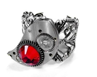 Steampunk Jewelry Ring Silver ETCHED Watch Part Red Crystal FEATURED Cover of AUXILIARY Fashion Magazine - Steampunk Jewelry by edmdesigns