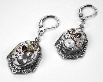 Steampunk Jewelry Earrings Silver Victorian Jewel Watch Wedding Bridal Mother Bridesmaid Gift Anniversary - Steampunk Jewelry by edmdesigns