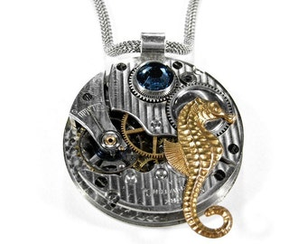 Steampunk Jewelry Necklace Vintage Pinstripe Pocket Watch SEAHORSE, SAPPHIRE Blue Swarovski Crystal Mens Fathers Day - Jewelry by edmdesigns