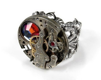 Steampunk Ring INDUSTRIAL Silver Watch Red Mix Crystal Adjustable Filigree Base Fathers Anniversary Fiancee UNISEX - Jewelry by edmdesigns