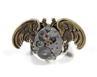 Steampunk Ring Vintage Watch Part Movement OWL Wings Steam Punk Ring ,Men's Women's Bird Ring Owl Ring   - Steampunk Jewelry by edmdesigns