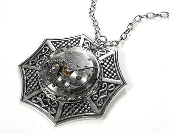 Steampunk Jewelry Necklace Vintage Watch Movement Silver CELTIC Wedding Anniversary Mother's Day Gift - Steampunk Jewelry by edmdesigns