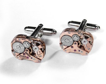 Mens Vintage Rose Gold Cufflinks Petite Watch Mens Cuff Links Steampunk Wedding Groom Father's Day Gift - Steampunk Jewelry by edmdesigns