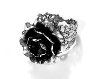 Steampunk Jewelry Ring Vintage Barrel Spring ROSE Ring Silver Filigree WOLFRAM Fashion Magazine Holiday Gift For Her - Jewelry by edmdesigns