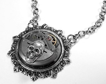 Steampunk Jewelry Necklace Vintage Silver Jeweled Watch Mechanism ORIGINAL Designer SKULL Swivels SPINS - Steampunk Jewelry by edmdesigns