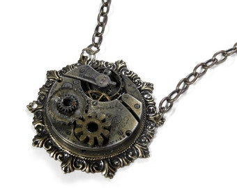 Steampunk Necklace Vintage INDUSTRiAL GRUNGE Pocket Watch UNiQUE GEARS NIHILIST Mens Womens Steam Punk - Steampunk Jewelry by edmdesigns