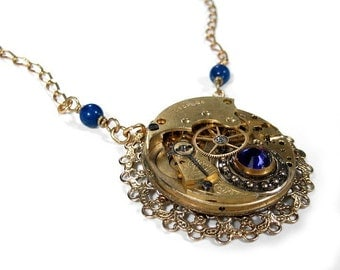 Steampunk Jewelry Necklace Womens Vintage Gold ETCHED Pocket Watch Filigree COBALT Blue Beads STUNNING Holiday Gift  - Jewelry by edmdesigns
