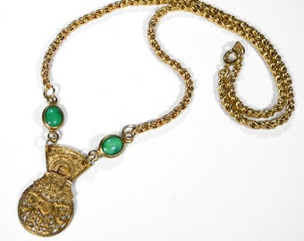 Steampunk Jewelry Necklace 1770's Carved Gold Pocket FUSEE Watch Balance Cock JADE Wedding Anniversary Bride Fiancee - Jewelry by edmdesigns