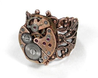 Steampunk Jewelry Ring Vintage Rose Gold Watch Ring SOLDERED Adjustable Steam Punk Wedding Anniversary Mom Mothers- Jewelry by edmdesigns