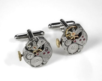 Steampunk Jewelry Cufflinks Vintage Jeweled Watch Movement Stemmed Cuff Links Anniversary Weddings Groomsmen Gift - Jewelry by edmdesigns