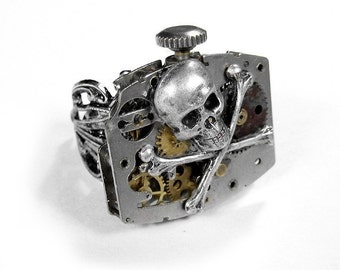 Steampunk Ring Vintage Industrial Watch Mechanism Skull Bones Rocker Road Hog Steam Punk Mens Womens Ring - Steampunk Jewelry by edmdesigns