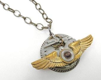 Steampunk Jewelry Necklace Vintage Pocket Watch Brass Aviator PILOT WiNGS Gears Steam Punk Mens Womens Burning Man - Jewelry by edmdesigns
