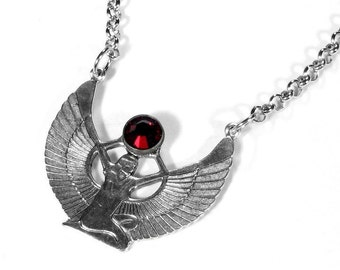 Steampunk Jewelry Necklace Vintage Silver WINGED Egyptian Goddess ISIS Red Crystal, JULY Anniversary Birthday Gift - Jewelry by edmdesigns