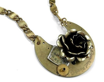 Steampunk Jewelry Necklace Vintage Gold Pocket Watch Brass ROSE Dial Steam Punk Anniversary, Birthday, Gift For Her - Jewelry by edmdesigns