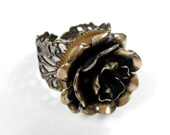 Steampunk Jewelry Ring Watch Part Golden ROSE Steam Punk Featured WOLFRAM Magazine Mothers Day Steampunk Fashion - Jewelry by edmdesigns