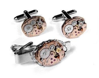 Steampunk Mens Cufflinks Rose Gold Watch Cufflinks & Tie Bar Mens Anniversary Wedding Groomsmen Father Dad - Steampunk Jewelry by edmdesigns