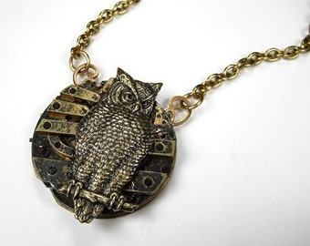 Steampunk Necklace Vintage Owl GRUNGeD Pocket Watch Wise Large Owl Featured in BUST MAGAZINE Steam Punk Jewelry - Steampunk by edmdesigns
