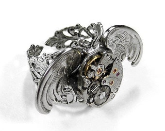 Steampunk Ring Vintage Watch Mechanism Silver OWL WINGS Unisex Ring Adjustable GORGEOUS Steam Punk - Steampunk Jewelry by edmdesigns