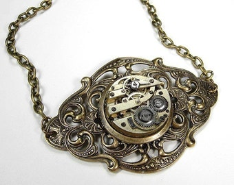 Steampunk Jewelry Necklace Womens Light Gold Pocket Watch GEARS Victorian Wedding Anniversary Mothers Day - Steampunk Jewelry by edmdesigns