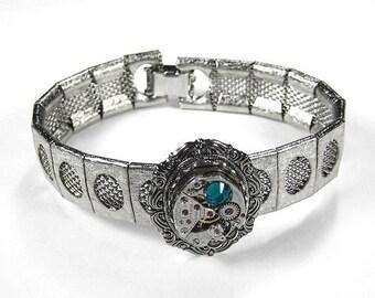 Steampunk Jewelry Bracelet Silver TEXTURED Vintage Jeweled Watch SWAROVSKI Turquoise Crystal Wedding Bride - Steampunk Jewelry by edmdesigns
