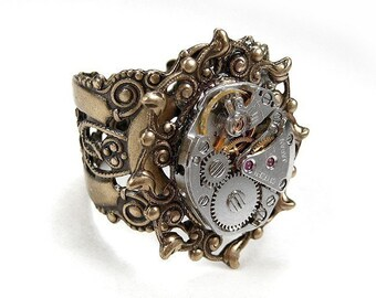 Steampunk Jewelry Ring Vintage Jewel Watch Movement, Handmade Band, Wedding Anniversary Mothers Day - Steampunk Jewelry by edmdesigns