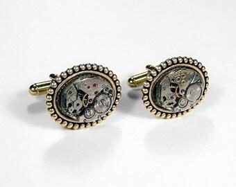 Mens Watch Cufflinks Vintage Jeweled Watch Cuff Links Brass Beaded Wedding Anniversary Groom Fathers Day - Steampunk Jewelry by edmdesigns