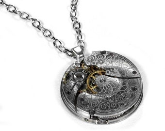 Steampunk Jewelry Steampunk Necklace Vintage Silver Pocket Watch WALTHAM ETCHED Mens Womens Anniversary Wedding Gift - Jewelry by edmdesigns