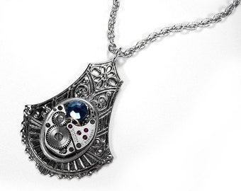 Steampunk Jewelry Necklace Vintage Watch Silver ORNATE Drop Swarovski Blue Crystal Wedding Anniversary Mother's Gift - Jewelry by edmdesigns