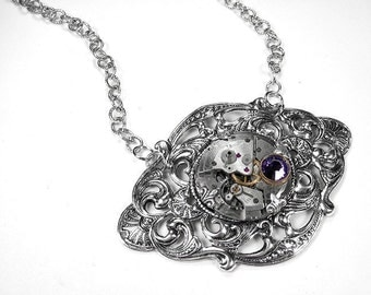 Steampunk Necklace Vintage Jeweled Watch Silver LILAC Swarovski Wedding Anniversary Bridal Mother GORGEOUS - Steampunk Jewelry by edmdesigns