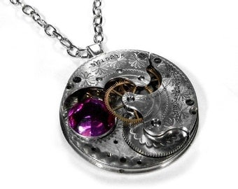 Steampunk Jewelry Necklace ETCHED Silver Pocket Watch PINK Crystal Wedding, Bridal, Fiancee GIRLFRIEND Necklace Gift - Jewelry by edmdesigns