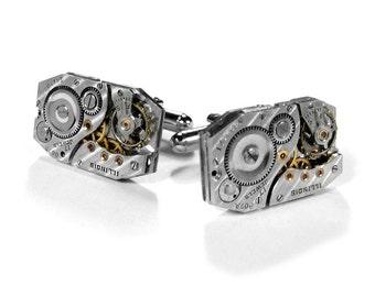 Mens Watch Cufflinks Vintage ILLINOIS Jeweled Cuff Links WEDDING Anniversary Grooms, Fiancee Cufflinks STUNNING Gift - Jewelry by edmdesigns