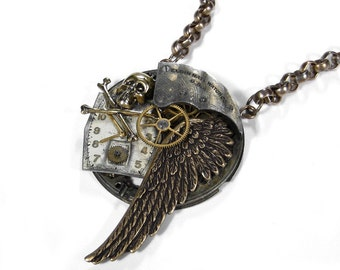 Steampunk Jewelry Necklace Grungy Pocket Watch Necklace WING SKULL Bones Dial Burning Man, Mens Womens Steam Punk - Jewelry by edmdesigns