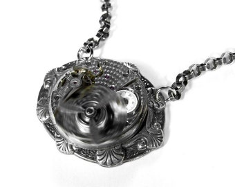 Steampunk Jewelry Necklace Vintage Pocket Watch PUNK Men's Women's Necklace - SPINNING PROPELLER Mother's Day Gift - Jewelry by edmdesigns